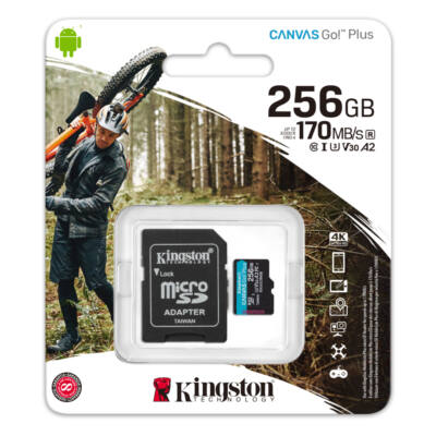 SDCG3/256GB Kingston 256GB Canvas Go! Plus (A2) U3V30 UHD microSD (170MB/s) + Adapter