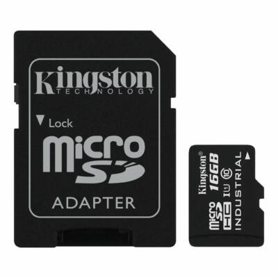 Kingston 16GB Micro SDHC Memóriakártya UHS-I Industrial Temp (90/45 Mb/S) + Adapter (SDCIT/16GB) - SDCIT_16GB