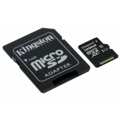 Kingston Canvas Select 128GB microSD memóriakártya + SD adapter Class 10 UHS-I (80MB/s olvasás) (SDCS/128GB) - SDCS_128GB