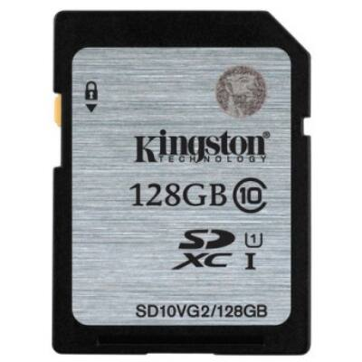 Kingston 128GB SDXC Memóriakártya UHS-I Class 10 (45 Mb/S) (SD10VG2/128GB) - SD10VG2_128GB